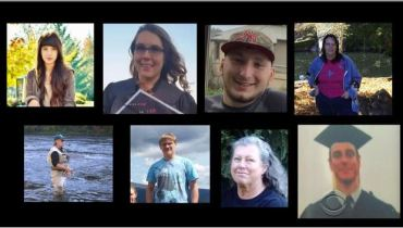 Victims of the Oregon community college shooting Top row from left to right: Lucero Alcaraz, 19, Rebecka Ann Carnes, 18, Treven Taylor Anspach, 20, Sarena Dawn Moore, 44; Bottom row from left to right: Professor Lawrence Levine, 67, Lucas Eibel, 18, Kim Saltmarsh Dietz, 59, and Jason Dale Johnson, 34.