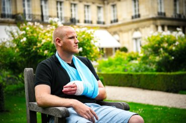 U.S. Airman 1st Class Spencer Stone is interviewed in Paris Aug. 23, 2015, following a foiled attack on a French train. Stone was on vacation with his childhood friends, Aleksander Skarlatos and Anthony Sadler, when an armed gunman entered their train carrying an assault rifle, a handgun and a box cutter. The three friends, with the help of a British passenger, subdued the gunman after his rifle jammed. Stone's medical background prepared him to begin treating wounded passengers while waiting for the authorities to arrive. Stone is an ambulance service technician with the 65th Medical Operations Squadron stationed at Lajes Field, Azores.