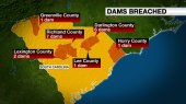 Graphic showing the dams breached in South Carolina.