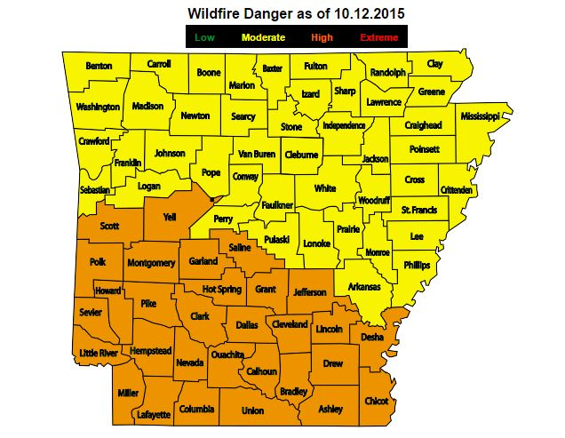 Wildfire Danger as of Oct. 12