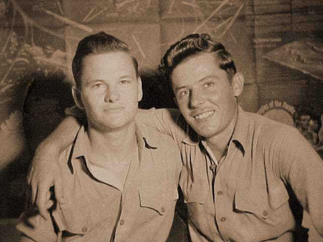 Francis (left) of the United States Marine Corps, and Preston, of the Army Air Corps meet in the South Pacific in 1945
