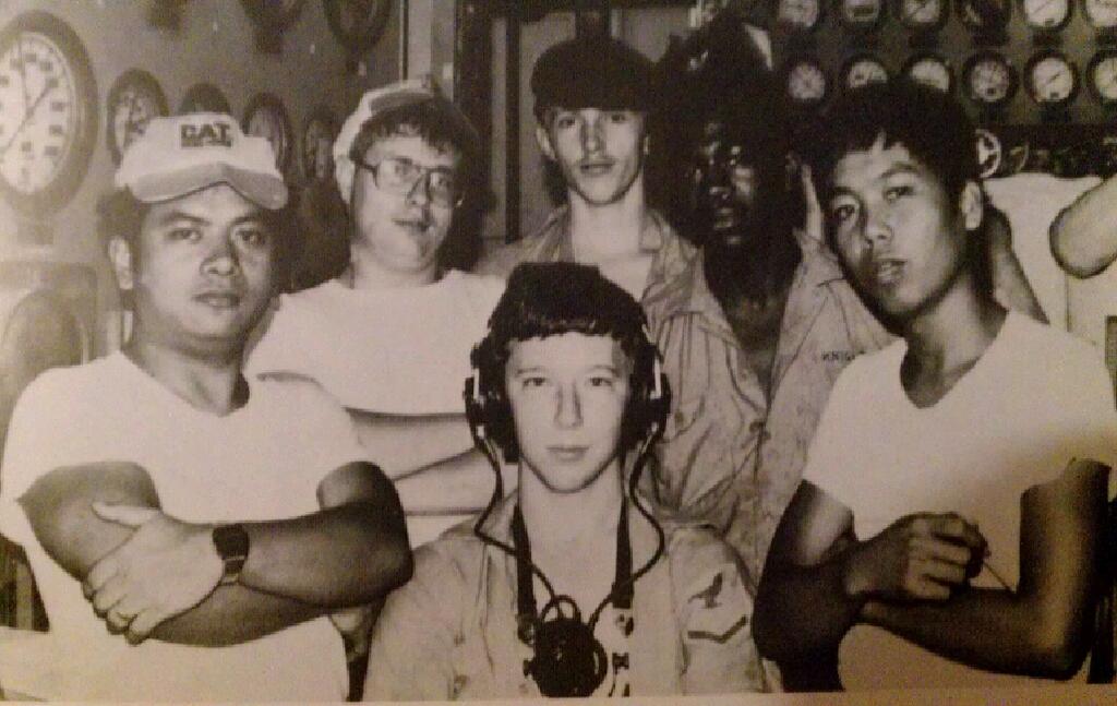 MM3 Ken Spillers (Front Center), Station on the USS Parsons in Yokusaka, Japan