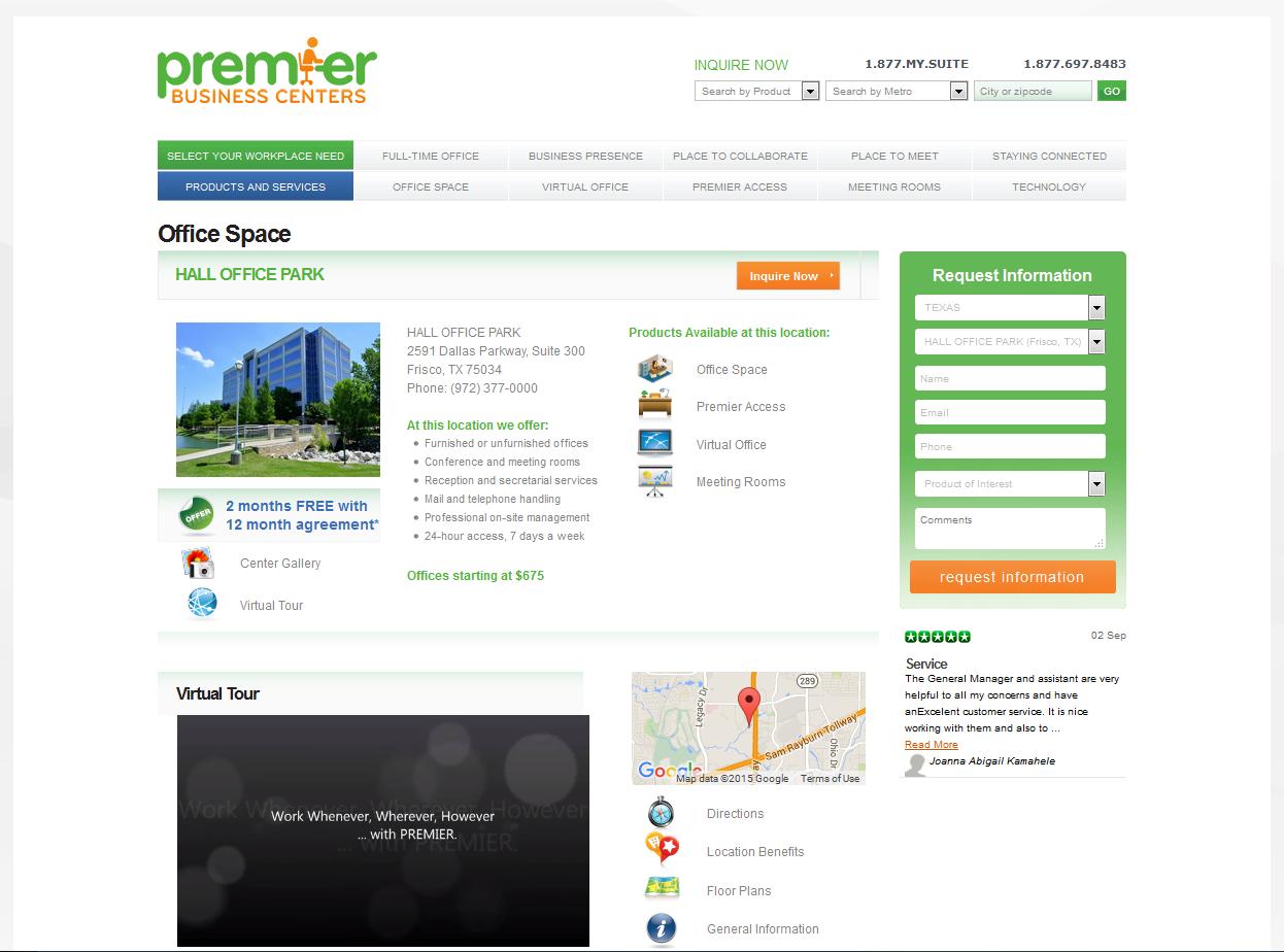 Address listing on Premier Business Centers.