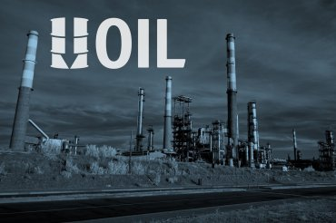 This illustration depicts an oil refinery as well as falling oil prices.