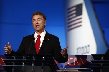 Rand Paul speaks during the CNN Republican Presidential Debate at the Ronald Reagan Presidential Library in Simi Valley, California on Sept. 16, 2015.