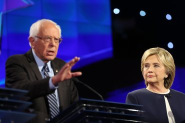 Bernie Sanders and Hillary Clinton at the CNN Democratic Debate at the Wynn Hotel in Las Vegas, Tuesday, October 13, 2015.