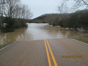 Flooding in the Tyler Bend camping area.