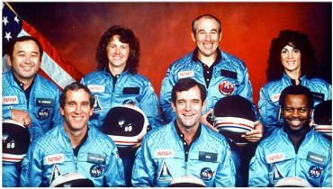 "The shuttle Challenger's crew, lost 30 years ago Thursday when the orbiter broke up due to a booster failure 73 seconds after liftoff on Jan. 28, 1986. Back row, left to right: Ellison Onizuka, high school teacher Sharon Christa McAuliffe, satellite engineer Gregory Jarvis and flight engineer Judith Resnik. Front row, left to right: pilot Michael Smith, commander Francis ""Dick"" Scobee and Ronald McNair.  Courtesy NASA"