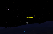 Looking East, Jupiter will be visible near the Moon. Photo: Space.com