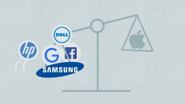 Facebook (FB, Tech30), Google (GOOGL, Tech30), Dell, HP and five other companies jointly filed a statement to the Supreme Court, supporting Samsung in its ongoing legal battle with Apple.