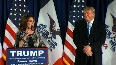 Former Alaska Gov. Sarah Palin endorses Republican presidential front-runner Donald Trump on Tuesday, January 19, 2016 at an Iowa campaign stop.