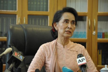 Aung San Suu Kyi held a press conference held at her office inside the Paliament's compound on April 9, 2015.