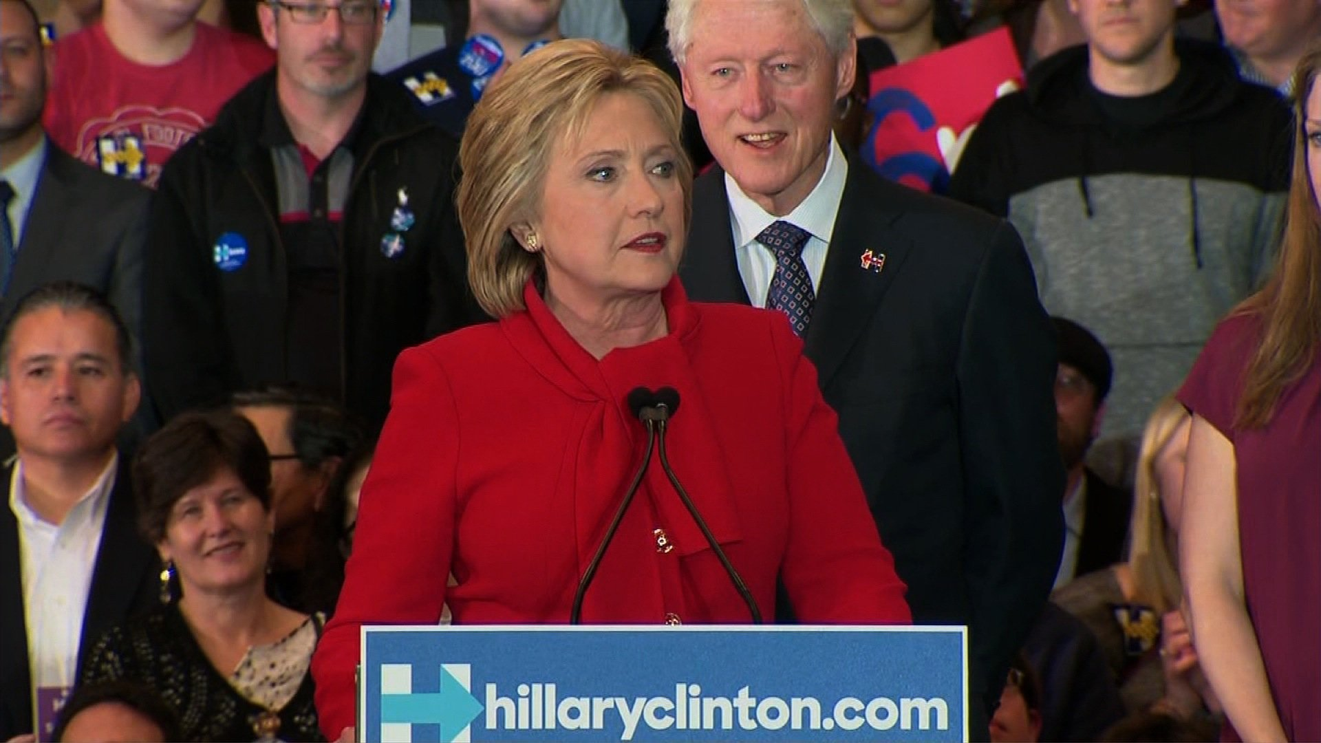 Hillary Clinton speaks in front of a crowd of supporters after the 2016 Iowa Caucus.
