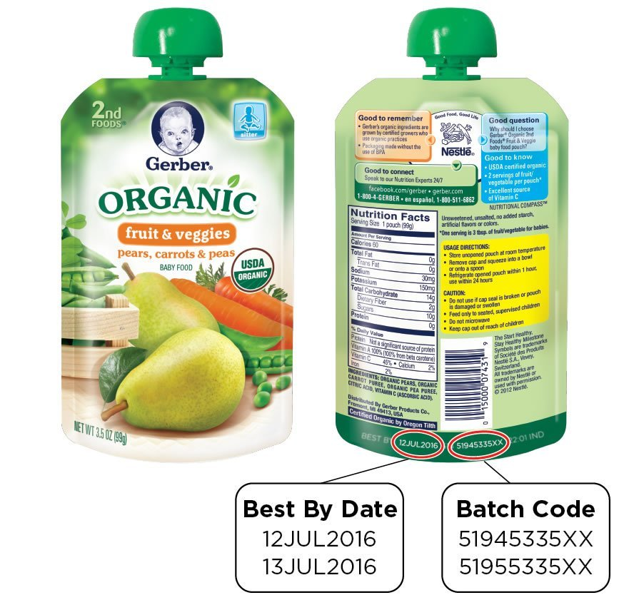Gerber Products Company is voluntarily recalling two organic baby foods because a packaging defect may make them susceptible to spoilage during transport and handling, the U.S. Food and Drug Administration and the company said Thursday. Two kinds of Gerber Organic 2nd Foods Pouches are being recalled: One is Pears, Carrots and Peas and the other is Carrots, Apples and Mangoes, the company said.