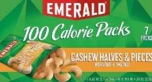 """Emerald brand 100-calorie packages of roasted and salted cashew halves and pieces are being recalled """"due to the possible presence of small glass pieces."""""""