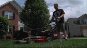 Lawn mowing exercise