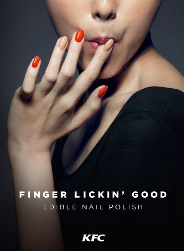 KFC, the fried chicken company, along with marketing giant Ogilvy & Mather, has produced edible nail polish for customers in Hong Kong.