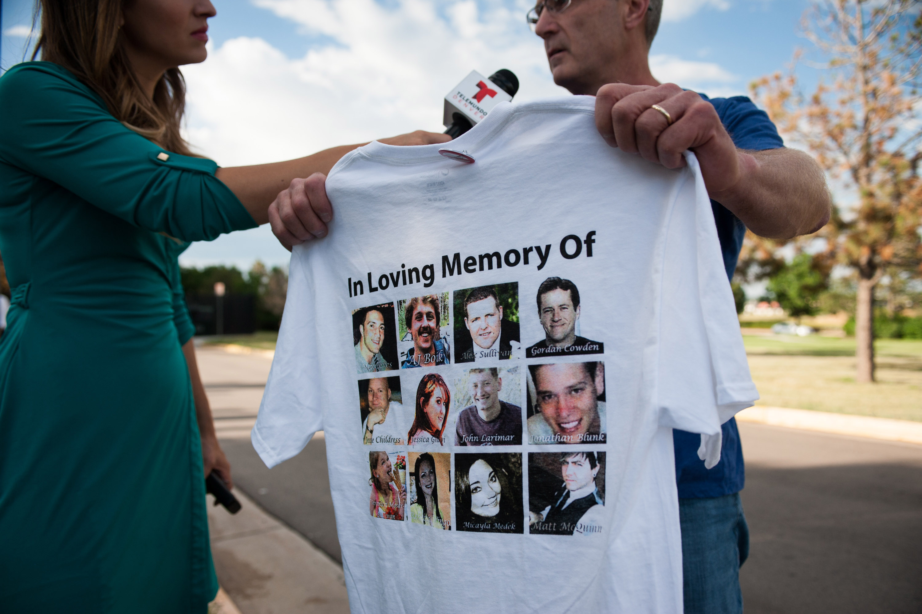 CENTENNIAL, CO - JULY 16:  Tom Teves, the father of Aurora shooting victim Alex Teves, is interviewed after a verdict was delivered in the trial of James Holmes at the Arapahoe County Justice Center on July 16, 2015 in Centennial, Colorado.  (Photo by Theo Stroomer/Getty Images)