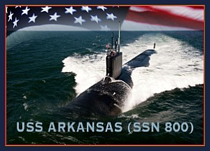 160609-N-LV331-002 WASHINGTON (June 9, 2016) A graphic representation of the future Virginia-class attack submarine USS Arkansas (SSN 800). The submarine will begin construction in 2018 and is expected to join the fleet in 2023. (U.S. Navy graphic by Mass Communication Specialist 2nd Class Armando Gonzales/Released)