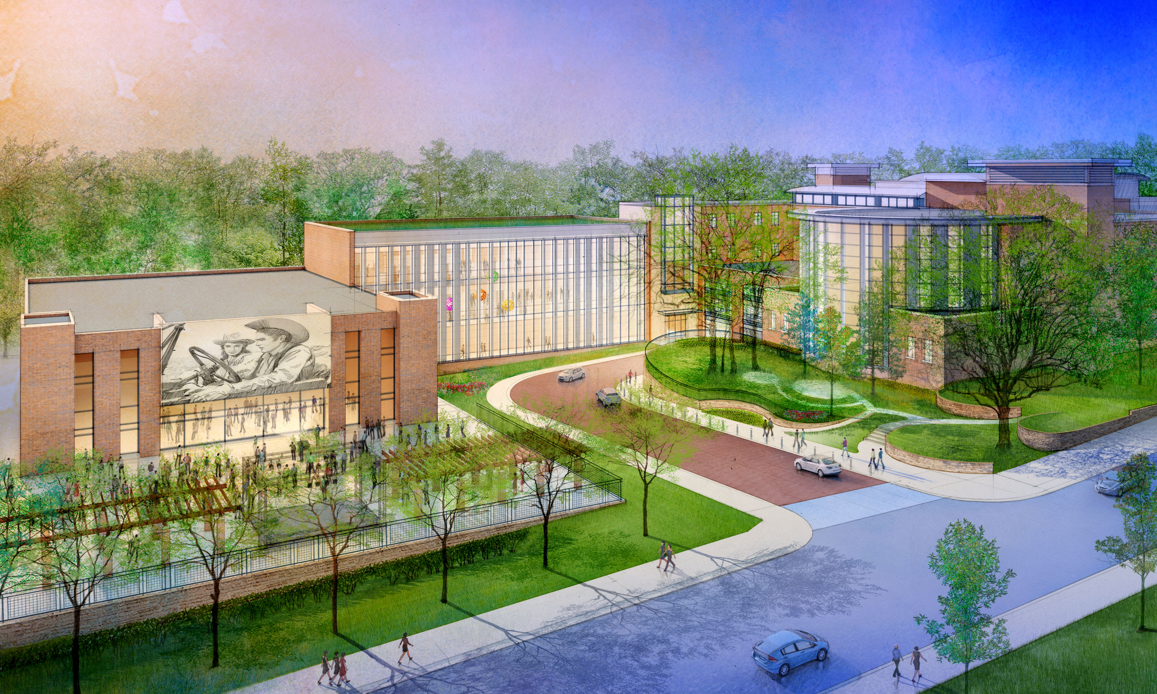 Fayetteville Library Expansion - Elevated View 07.05.16