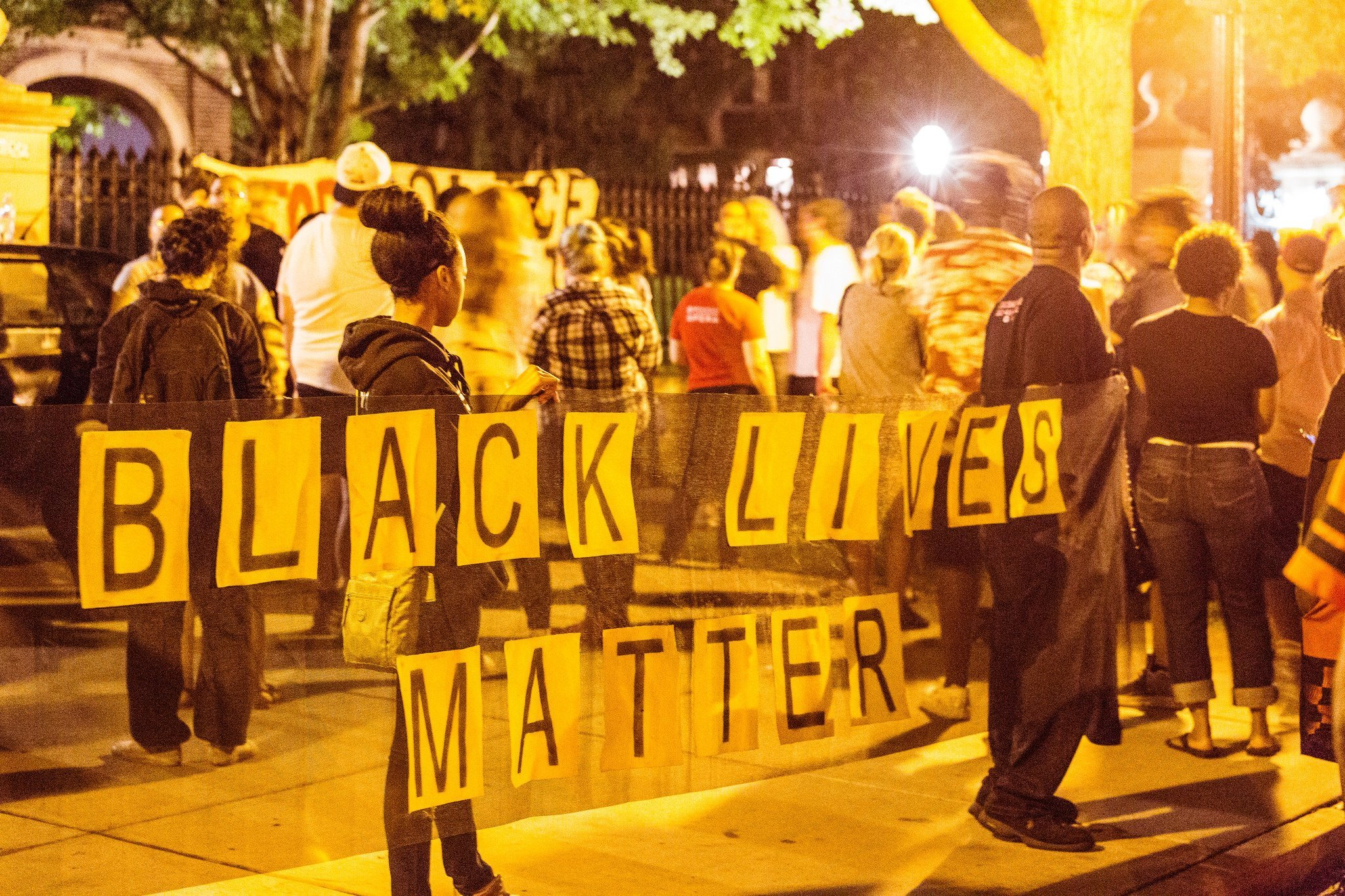 Black Lives Matter activists gathered at the governor's mansion in St. Paul after the traffic stop shooting of Philando Castile