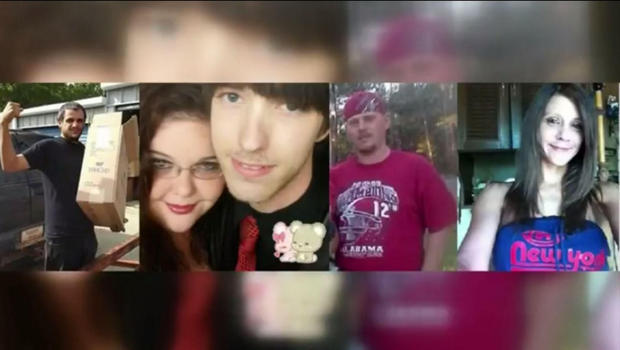 Five found dead in an Alabama home on August 20, 2016 were identified as [from left] Robert Lee Brown, Chelsea Marie Reed, Justin Kaleb Reed, Joseph Adam Turner and Shannon Melissa Randall. Courtesy WKRG