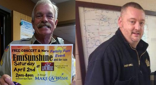Sebastian County Deputy Bill Cooper (left) and Hackett Police Chief Darrell Spells (right)