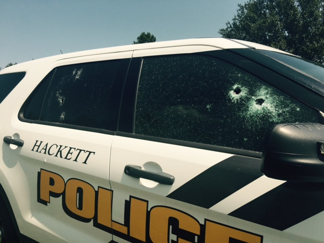 Gunshots in a Hackett police vehicle
