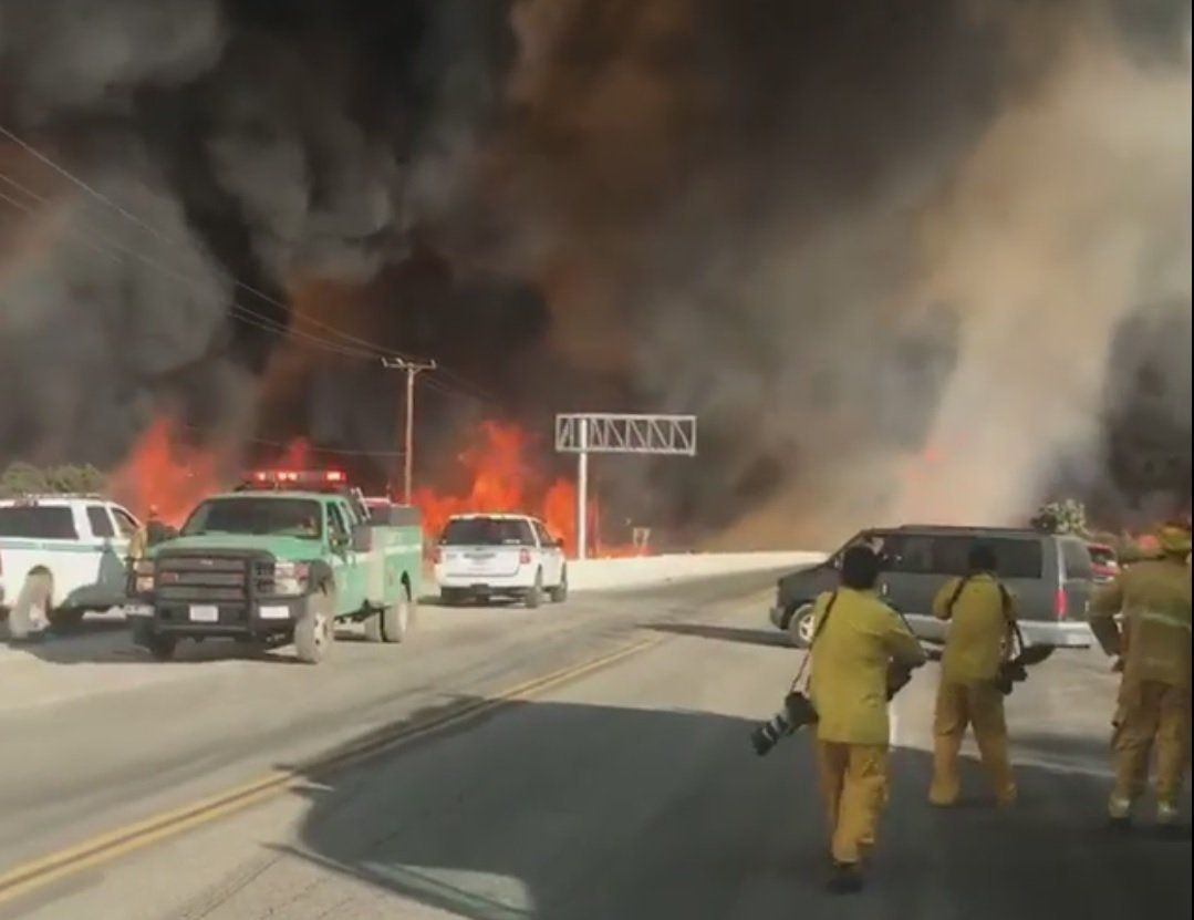 In less than a day after igniting, a Southern California wildfire, burning uncontrollably, has engulfed 18,000 acres.The size of the fire is roughly 28 square miles. The fast-moving fire forced more than 82,000 residents of San Bernardino County to evacuate, a Cal Fire spokesman said.  Credit: San Bernardion County Fire/YouTube