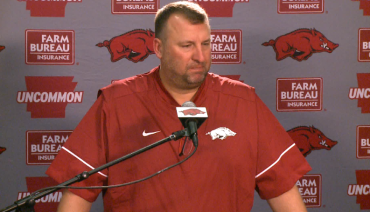 Arkansas coach Bret Bielema addressed the media prior to the start of the fall football camp.