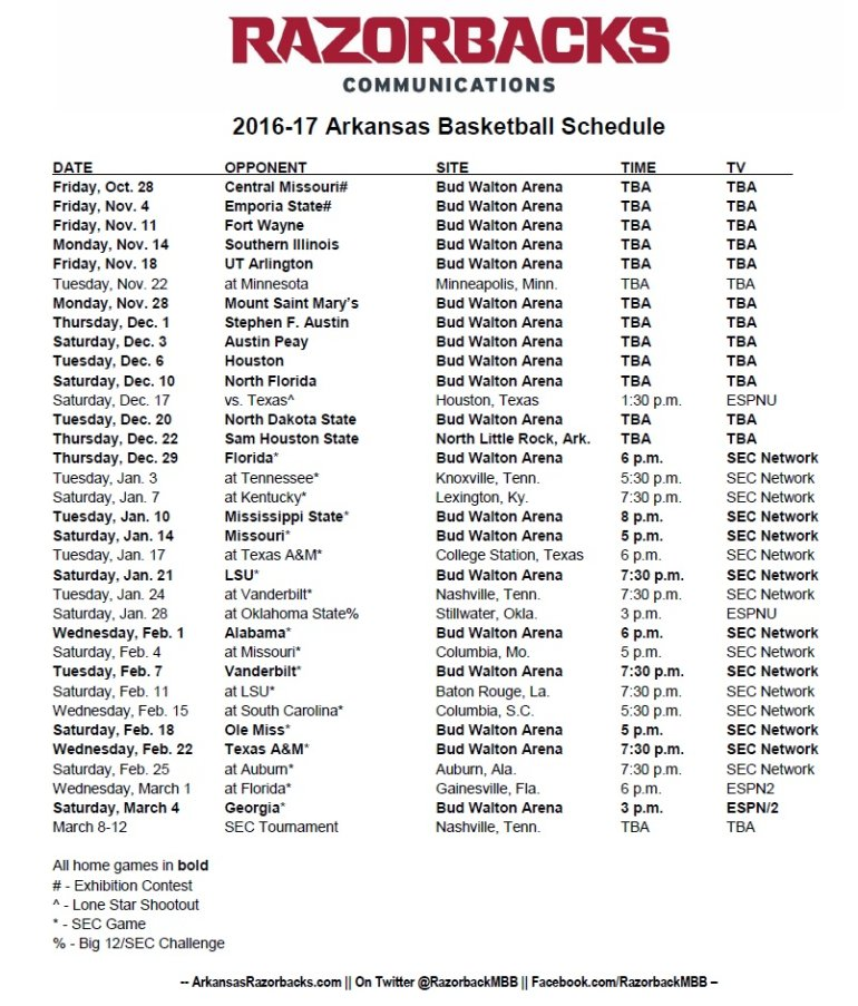 complete arkansas basketball schedule released fort smith