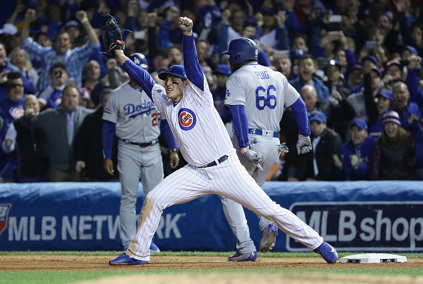 Cubs celebrate win v Dodgers 5-0 in game six of the NLCS.