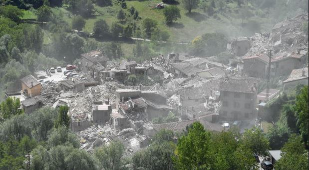 Pescara del Tronto town destroyed by the earthquake on August 24, 2016.