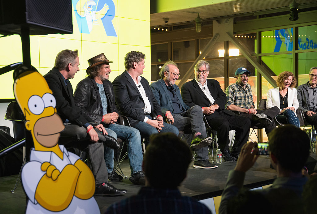 LOS ANGELES, CA - OCT. 14: Director David Silverman, Executive Producer Al Jean, Executive Producer James L. Brooks, Creator Matt Groening, Executive Producer Matt Selman, Google executive Karen Dufilho, and Google executive Jan Pinkava