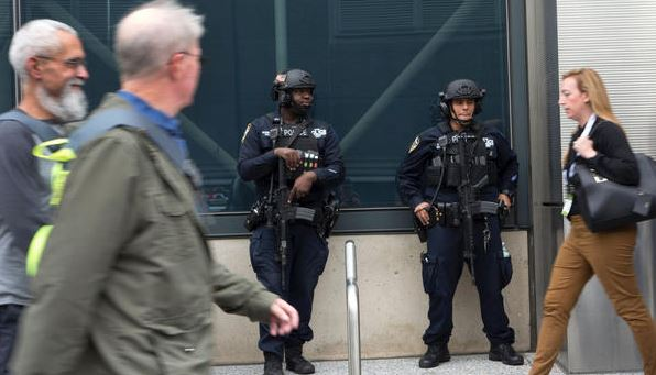 NYPD patrol the front of Jacob Javits Convention Center Nov. 3, 2016.