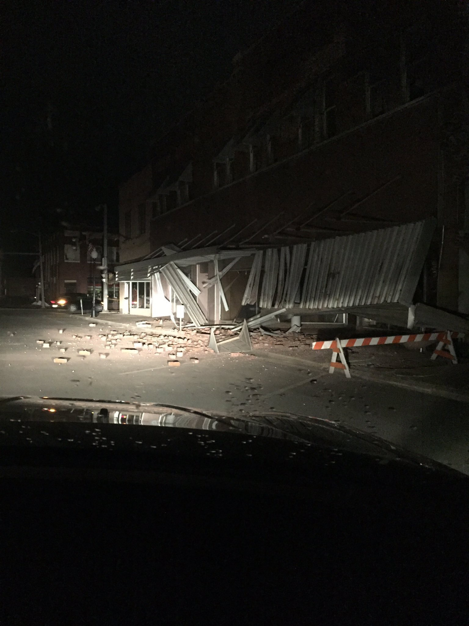 Cleveland Street after the earthquake in Cushing, Okla. According to the person who took the pictures, Cushing was evacuated.