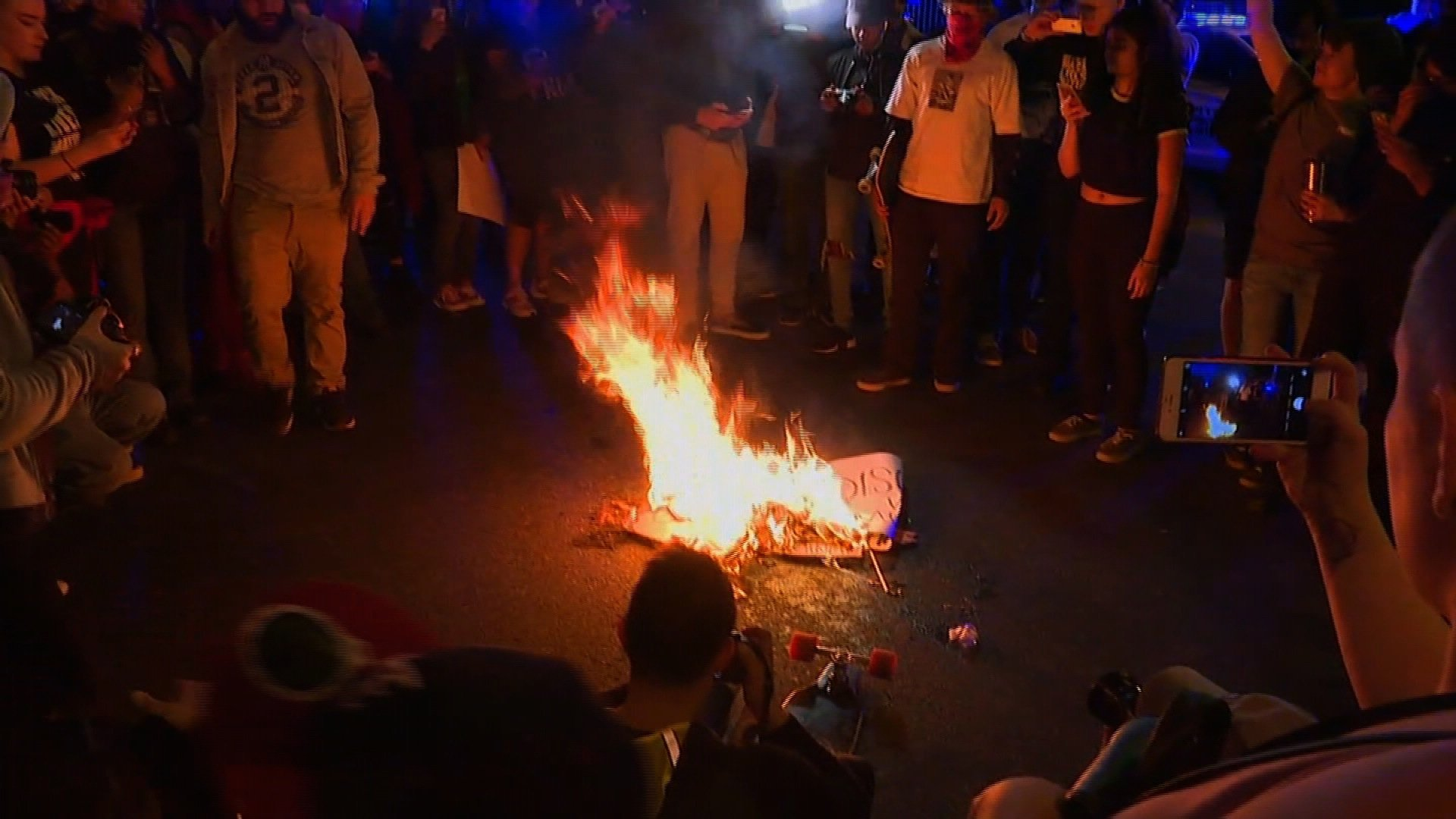 The American flag was burned near the Georgia State Capital in an anti-Trump protest on November 11, 2016.