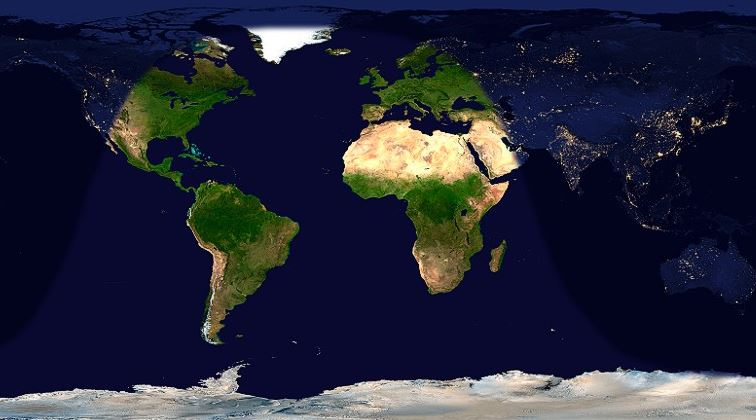 Day and night across the Earth at 1:50 p.m. UTC/GMT on November 14, 2016.