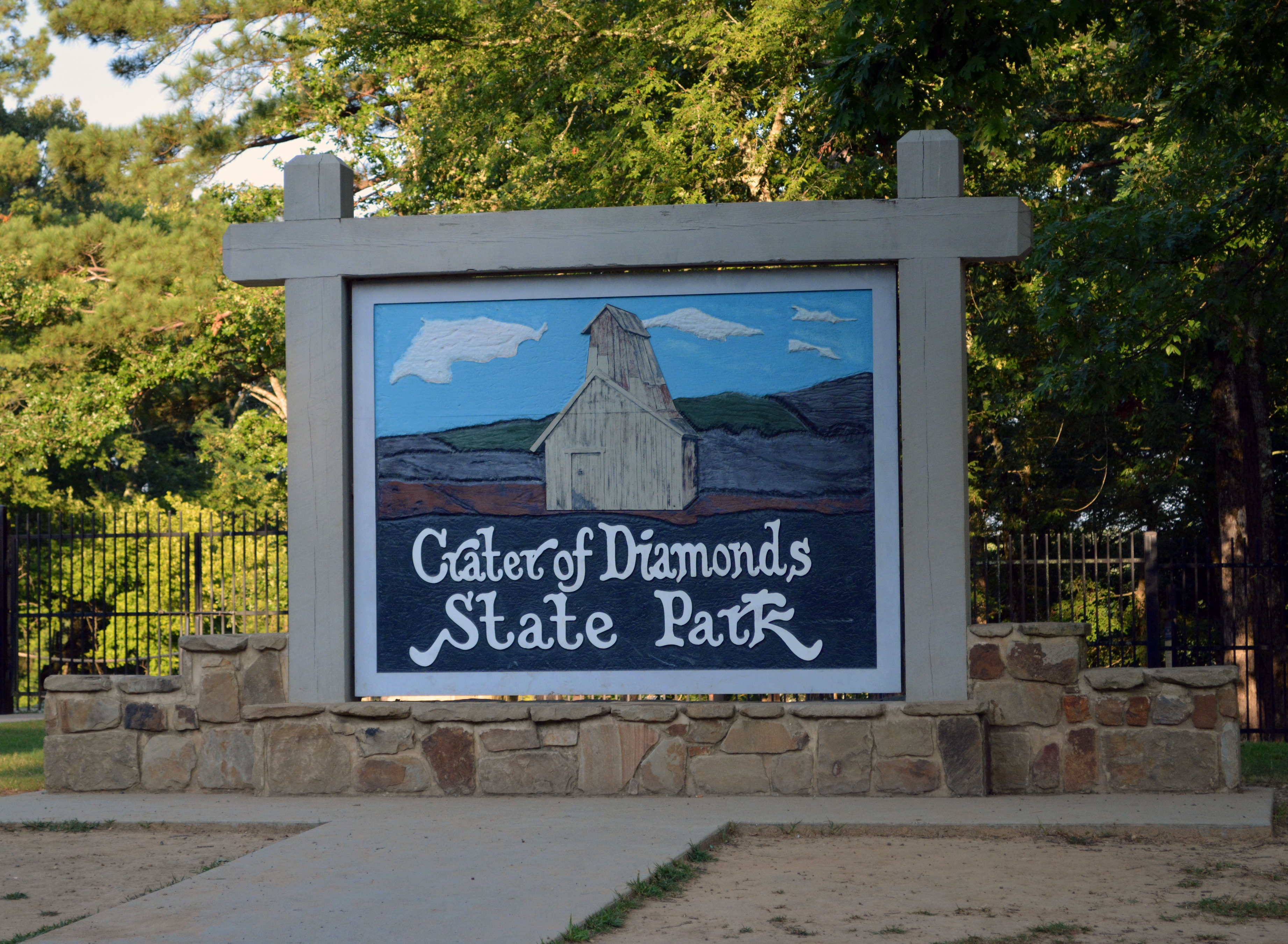 Crater of Diamonds State Park entrance signage.