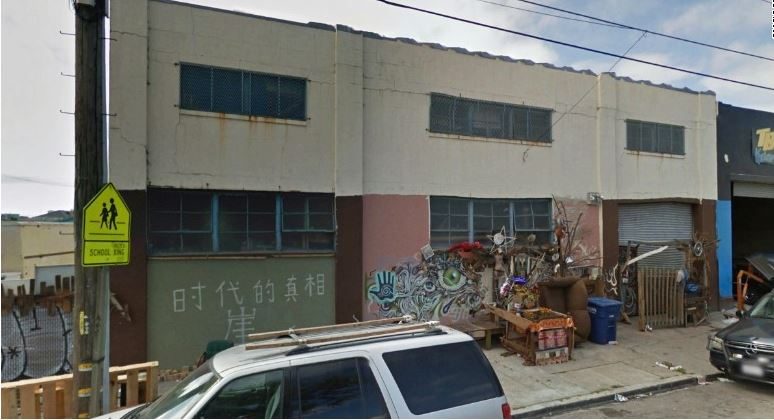 Reed said the building was like an artist studio.  Undated Google Earth photo before fire at 1305 31st Ave. in Oakland.