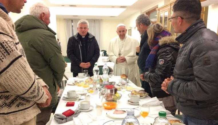 Birthday breakfast took place in the Vatican dining room.