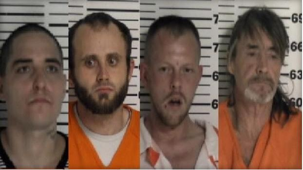 Escapees from left to right:  John Thomas Shehee, Harce Wade Allen,  Eric S. Click,  David Wayne Frazier.