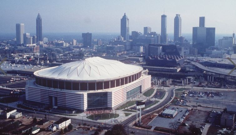 Georgia Dome, 1992, has been the home to the Atlanta Falcons for 25 years. The dome will be demolished later this year. The new Mercedes-Benz Stadium is under construction. (Getty)