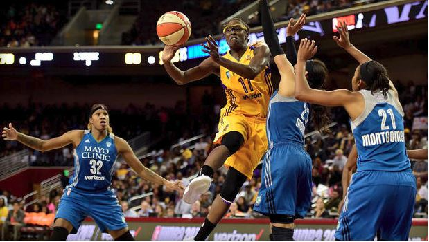 Forward Essence Carson #17 of the Los Angeles Sparks.  Game 3 of 2016 WNBA Finals at Galen Center.  Oct. 14, 2016. (Getty)