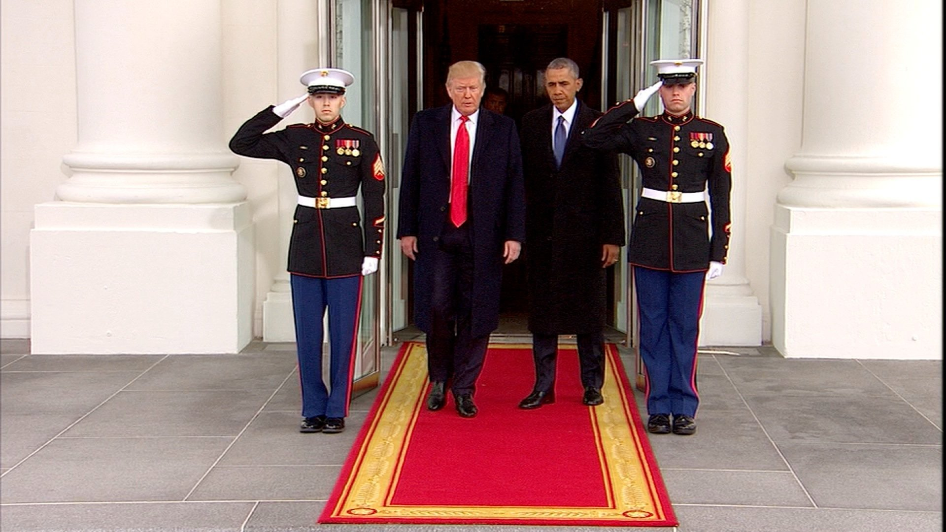 Obama and Trump arriving on Capital Hill