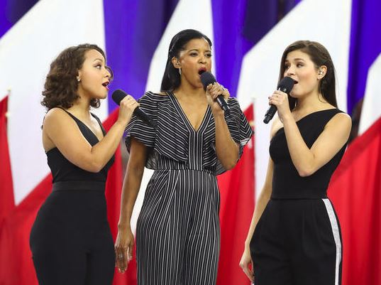 (L-R) Jasmine Cephas Jones, Renee Elise Goldsberry and Phillpa Soo of the Broadway musical Hamilton. (Getty Images)