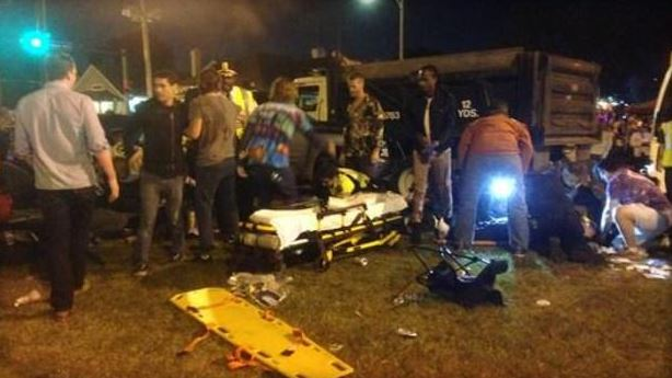 New Orleans said at least 12 people were injured when a car ran into a crowd along a parade route.  (CBS/WWL).