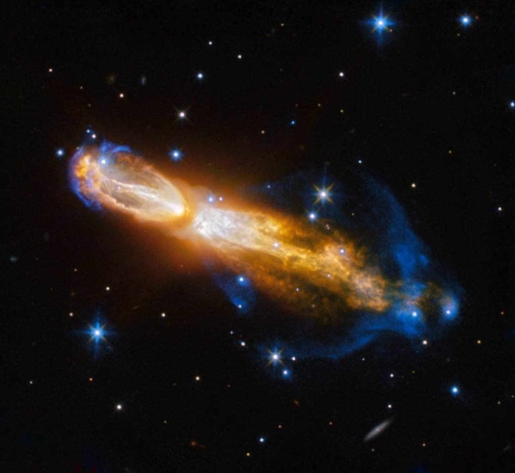 The Hubble Telescope captured the spectacular death of a star -- an event that has rarely been seen by astronomers. The dying star, known as a red giant, in its final stages blows out its outer layers, leaving clouds of gas and dust, which is called a planetary nebula.