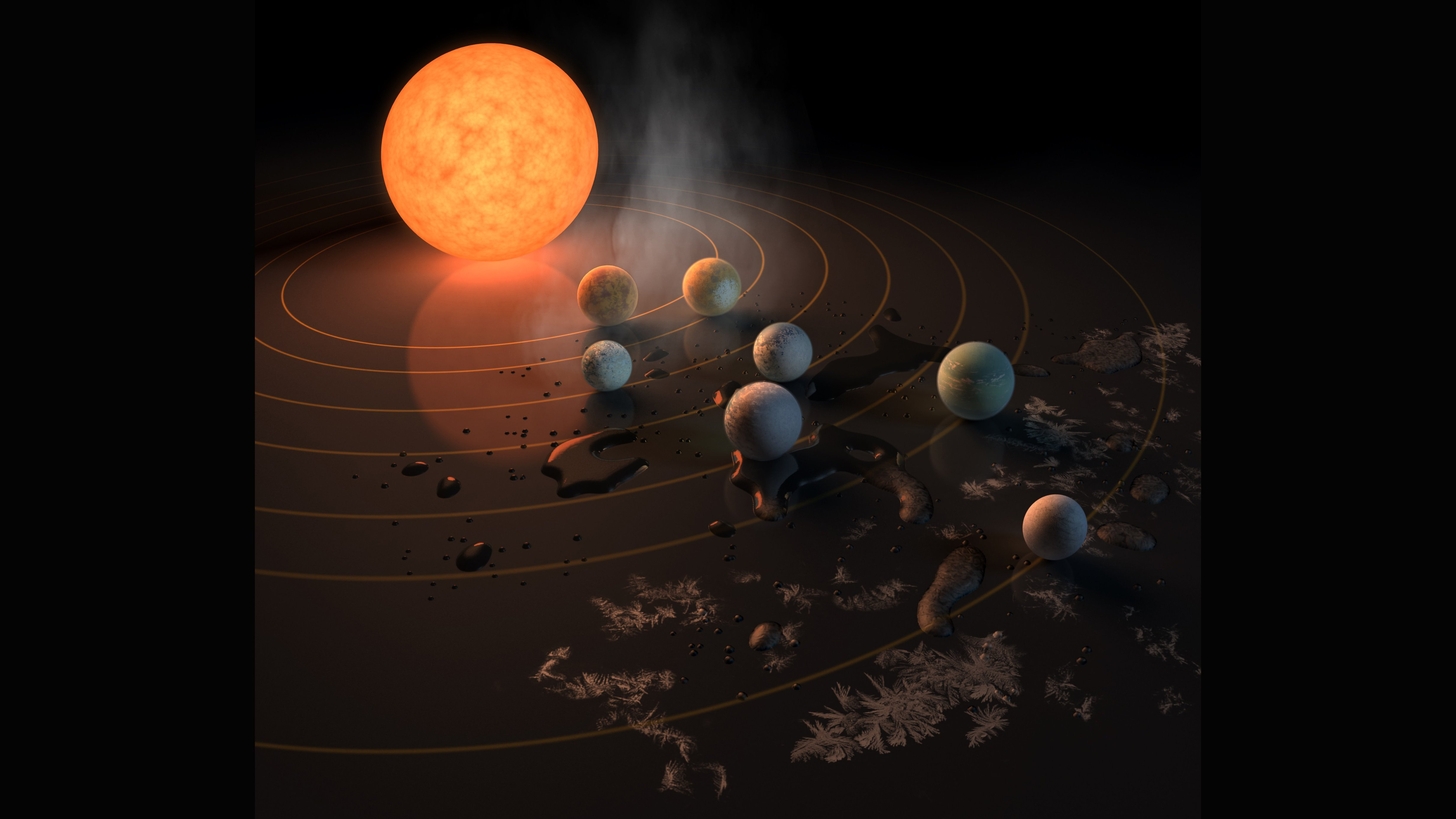 Astronomers have found at least seven Earth-like planets orbiting the same star 40 light-years away, according to a study published Wednesday, Feb. 22, 2017 in the journal Nature. The findings were also announced at a news conference at NASA Headquarters in Washington.