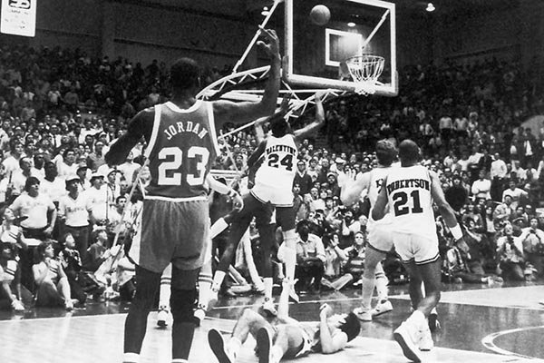 No. 1 North Carolina trekked to the Pine Bluff Convention Center for a high-stakes regular season game with the Razorbacks in February 1984. The Hogs handed the Tar Heels their first loss of the season thanks to Charles Balentine's lay-up in the waning seconds.